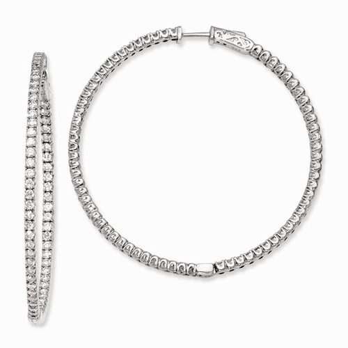 Silver Rhodium-plated Cz In And Out Hinged Hoop Earrings QE7951
