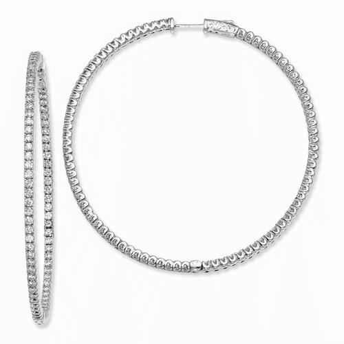 Silver Rhodium-plated Cz In And Out Hinged Hoop Earrings QE7952