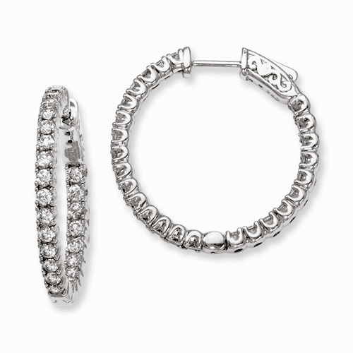 Silver Rhodium-plated Cz In And Out Hinged Hoop Earrings QE7954