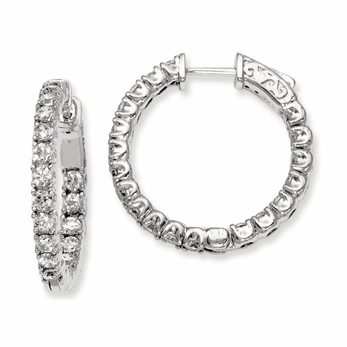 Silver Rhodium-plated Cz In And Out Hinged Hoop Earrings QE7958