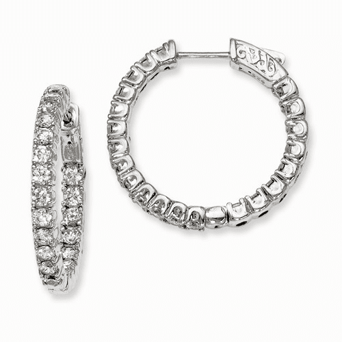 Silver Rhodium-plated Cz In And Out Hinged Hoop Earrings QE7959