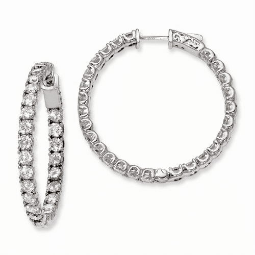 Silver Rhodium-plated Cz In And Out Hinged Hoop Earrings QE7960
