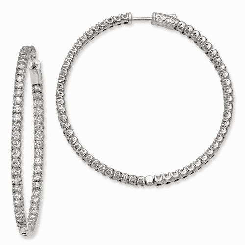 Silver Rhodium-plated Cz In And Out Hinged Hoop Earrings QE7961