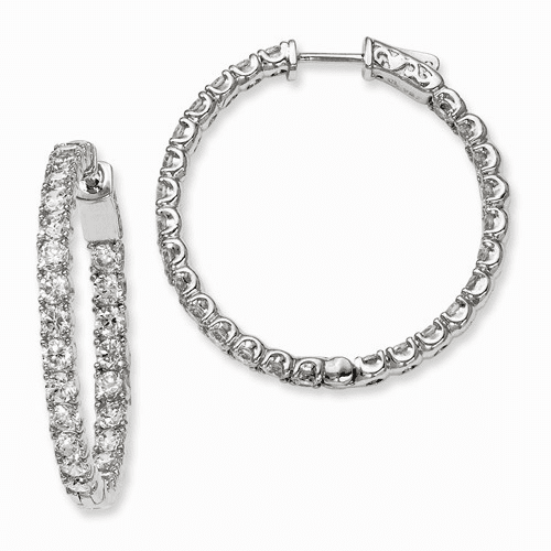 Silver Rhodium-plated Cz In And Out Hinged Hoop Earrings QE7963