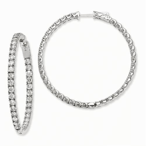 Silver Rhodium-plated Cz In And Out Hinged Hoop Earrings QE7964