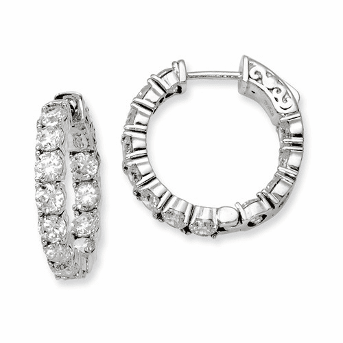 Silver Rhodium-plated Cz In And Out Hinged Hoop Earrings QE7965