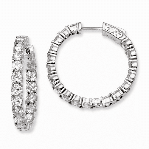 Silver Rhodium-plated Cz In And Out Hinged Hoop Earrings QE7966