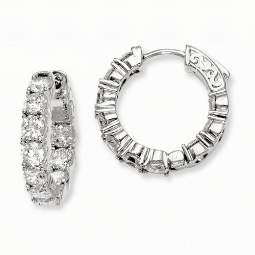 Silver Rhodium-plated Cz In And Out Hinged Hoop Earrings QE7968