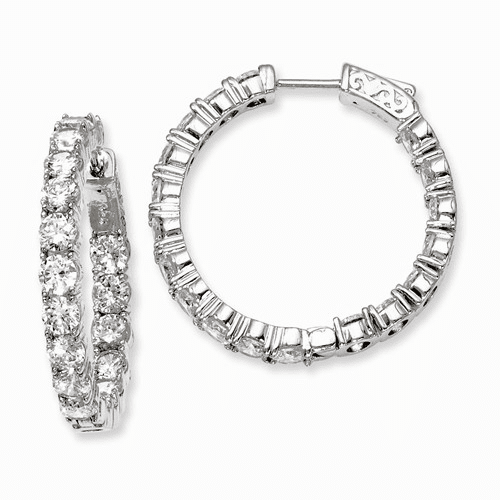 Silver Rhodium-plated Cz In And Out Hinged Hoop Earrings QE7969