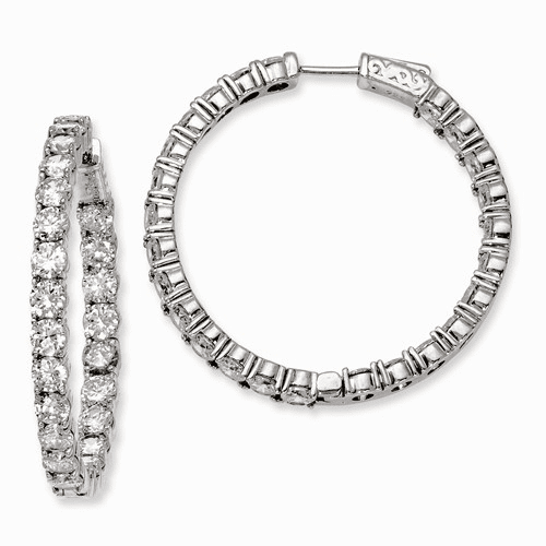 Silver Rhodium-plated Cz In And Out Hinged Hoop Earrings QE7970