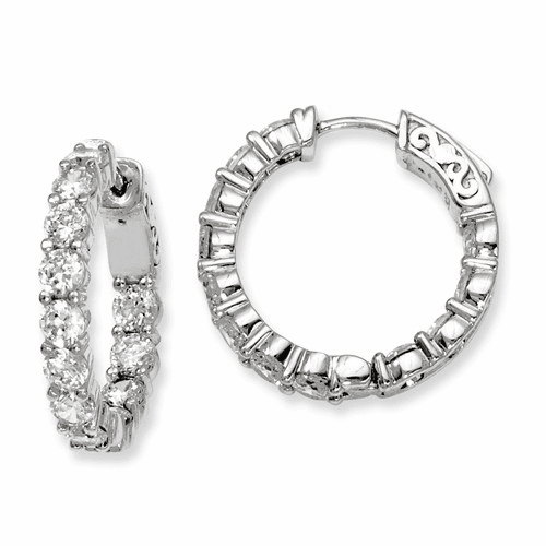 Silver Rhodium-plated Cz In And Out Hinged Hoop Earrings QE7971