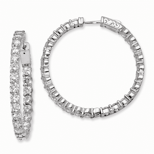 Silver Rhodium-plated Cz In And Out Hinged Hoop Earrings QE7973
