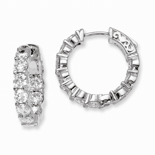 Silver Rhodium-plated Cz In And Out Hinged Hoop Earrings QE7974