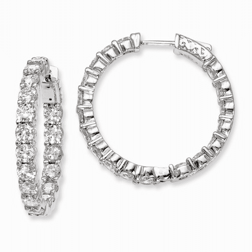 Silver Rhodium-plated Cz In And Out Hinged Hoop Earrings QE7975