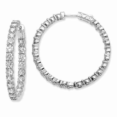 Silver Rhodium-plated Cz In And Out Hinged Hoop Earrings QE7976