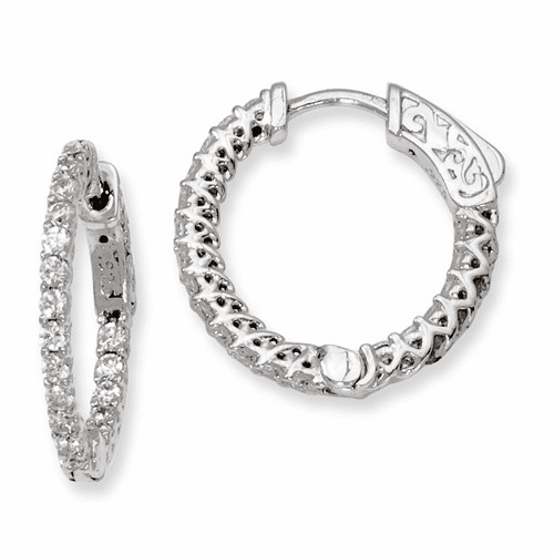Silver Rhodium-plated Cz In And Out Hinged Hoop Earrings QE7977