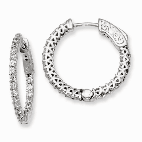 Silver Rhodium-plated Cz In And Out Hinged Hoop Earrings QE7978