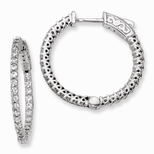 Silver Rhodium-plated Cz In And Out Hinged Hoop Earrings QE7979
