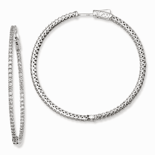 Silver Rhodium-plated Cz In And Out Hinged Hoop Earrings QE7980
