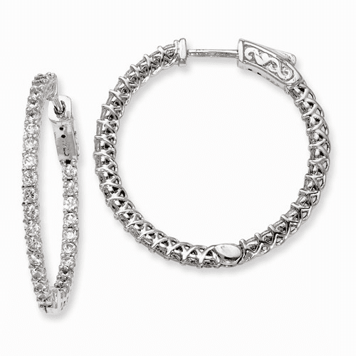 Silver Rhodium-plated Cz In And Out Hinged Hoop Earrings QE7981