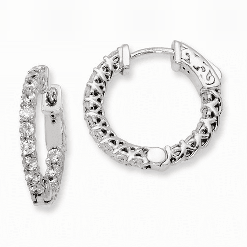 Silver Rhodium-plated Cz In And Out Hinged Hoop Earrings QE7983