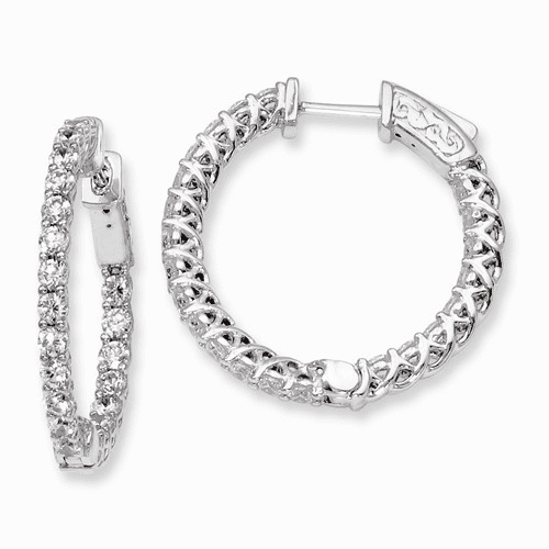 Silver Rhodium-plated Cz In And Out Hinged Hoop Earrings QE7984