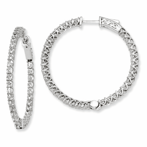 Silver Rhodium-plated Cz In And Out Hinged Hoop Earrings QE7985