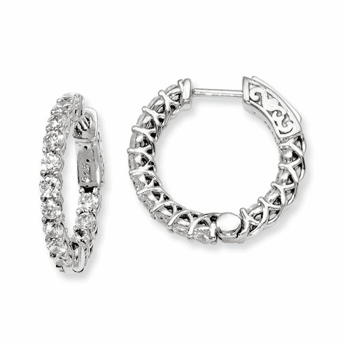 Silver Rhodium-plated Cz In And Out Hinged Hoop Earrings QE7986