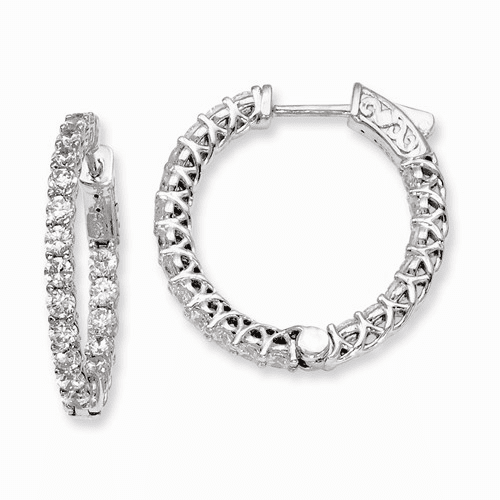 Silver Rhodium-plated Cz In And Out Hinged Hoop Earrings QE7987