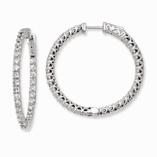 Silver Rhodium-plated Cz In And Out Hinged Hoop Earrings QE7988