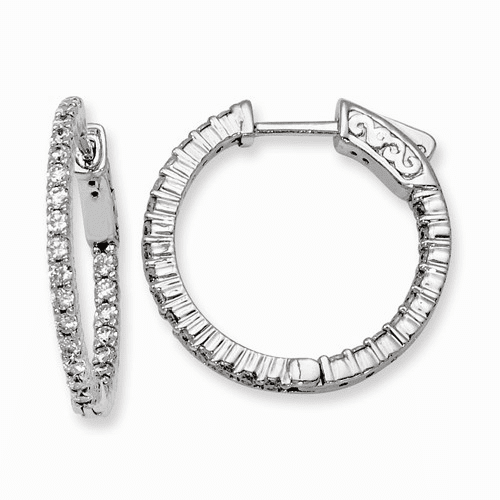 Silver Rhodium-plated Cz In And Out Hinged Hoop Earrings QE8001