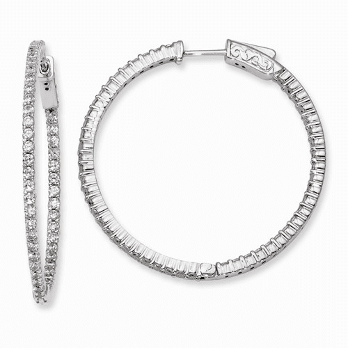 Silver Rhodium-plated Cz In And Out Hinged Hoop Earrings QE8002