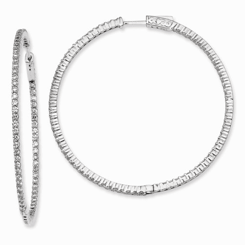 Silver Rhodium-plated Cz In And Out Hinged Hoop Earrings QE8003