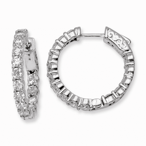 Silver Rhodium-plated Cz In And Out Hinged Hoop Earrings QE8005