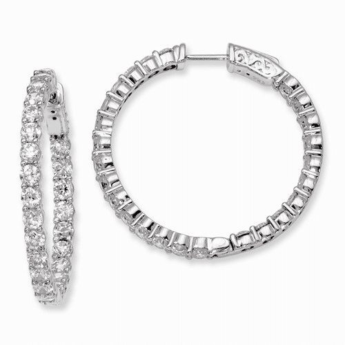 Silver Rhodium-plated Cz In And Out Hinged Hoop Earrings QE8006