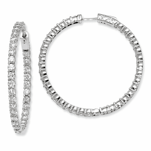 Silver Rhodium-plated Cz In And Out Hinged Hoop Earrings QE8007