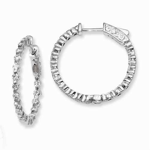 Silver Rhodium-plated Cz In And Out Hinged Hoop Earrings QE8008