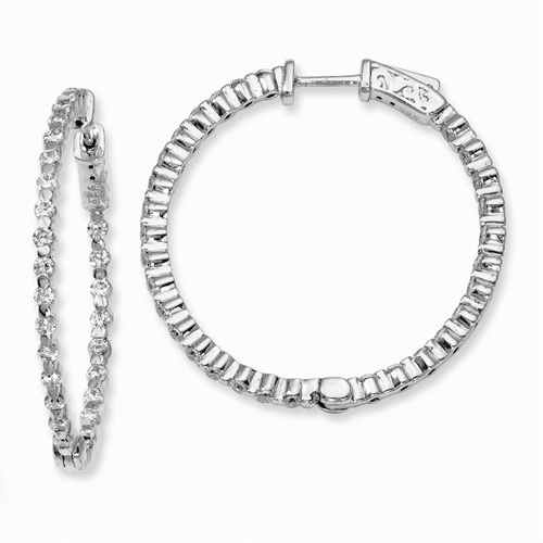 Silver Rhodium-plated Cz In And Out Hinged Hoop Earrings QE8009