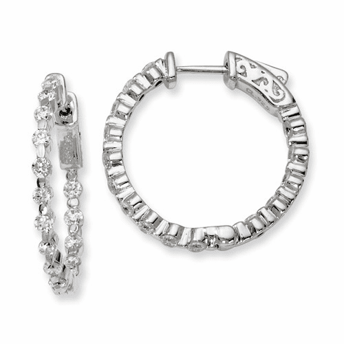 Silver Rhodium-plated Cz In And Out Hinged Hoop Earrings QE8011