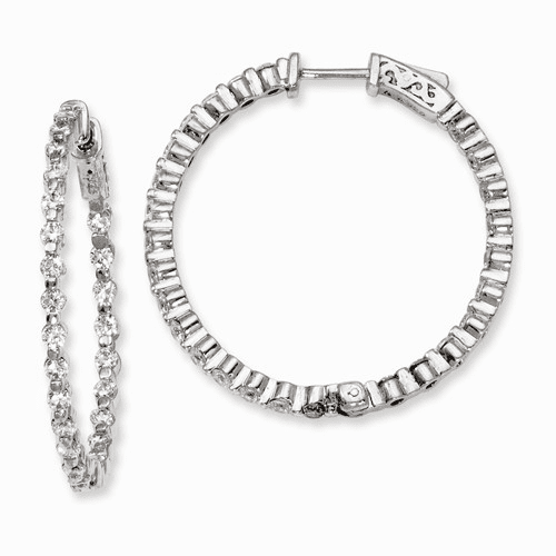 Silver Rhodium-plated Cz In And Out Hinged Hoop Earrings QE8012