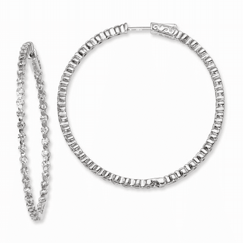 Silver Rhodium-plated Cz In And Out Hinged Hoop Earrings QE8013