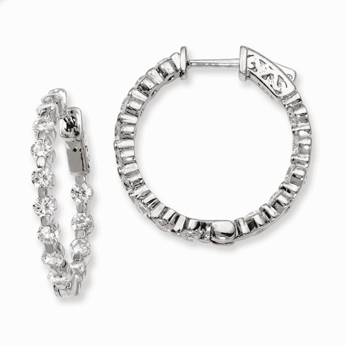 Silver Rhodium-plated Cz In And Out Hinged Hoop Earrings QE8014