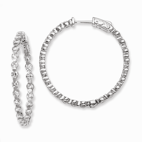 Silver Rhodium-plated Cz In And Out Hinged Hoop Earrings QE8015