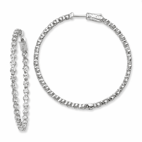 Silver Rhodium-plated Cz In And Out Hinged Hoop Earrings QE8016
