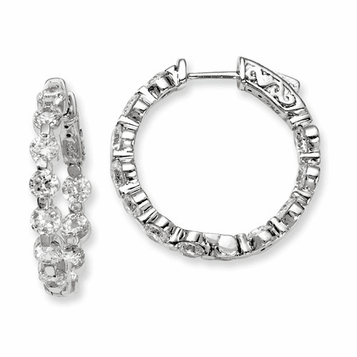 Silver Rhodium-plated Cz In And Out Hinged Hoop Earrings QE8017