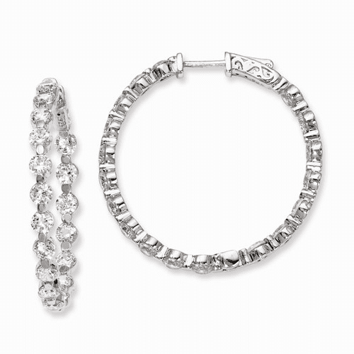 Silver Rhodium-plated Cz In And Out Hinged Hoop Earrings QE8018