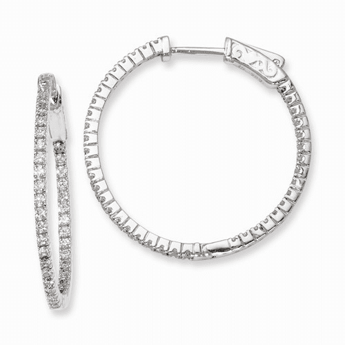 Silver Rhodium-plated Cz In And Out Hinged Hoop Earrings QE8020