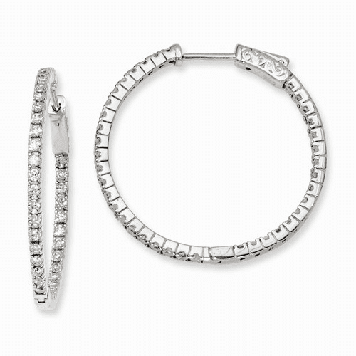 Silver Rhodium-plated Cz In And Out Hinged Hoop Earrings QE8024