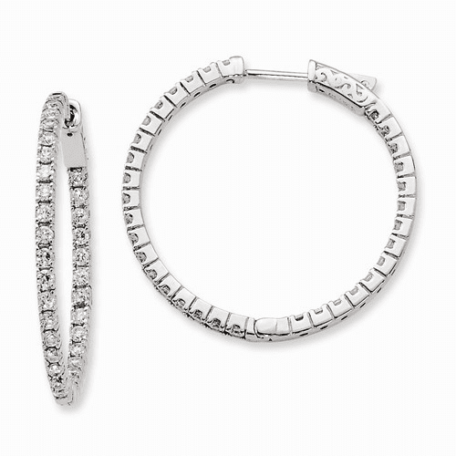 Silver Rhodium-plated Cz In And Out Hinged Hoop Earrings QE8028