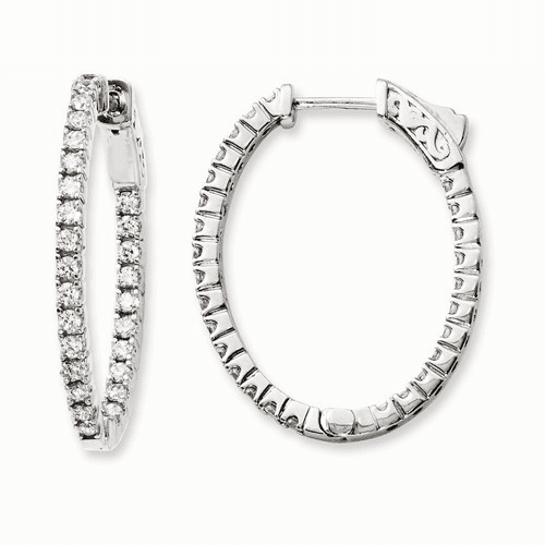 Silver Rhodium-plated Cz In And Out Oval Hoop Earrings